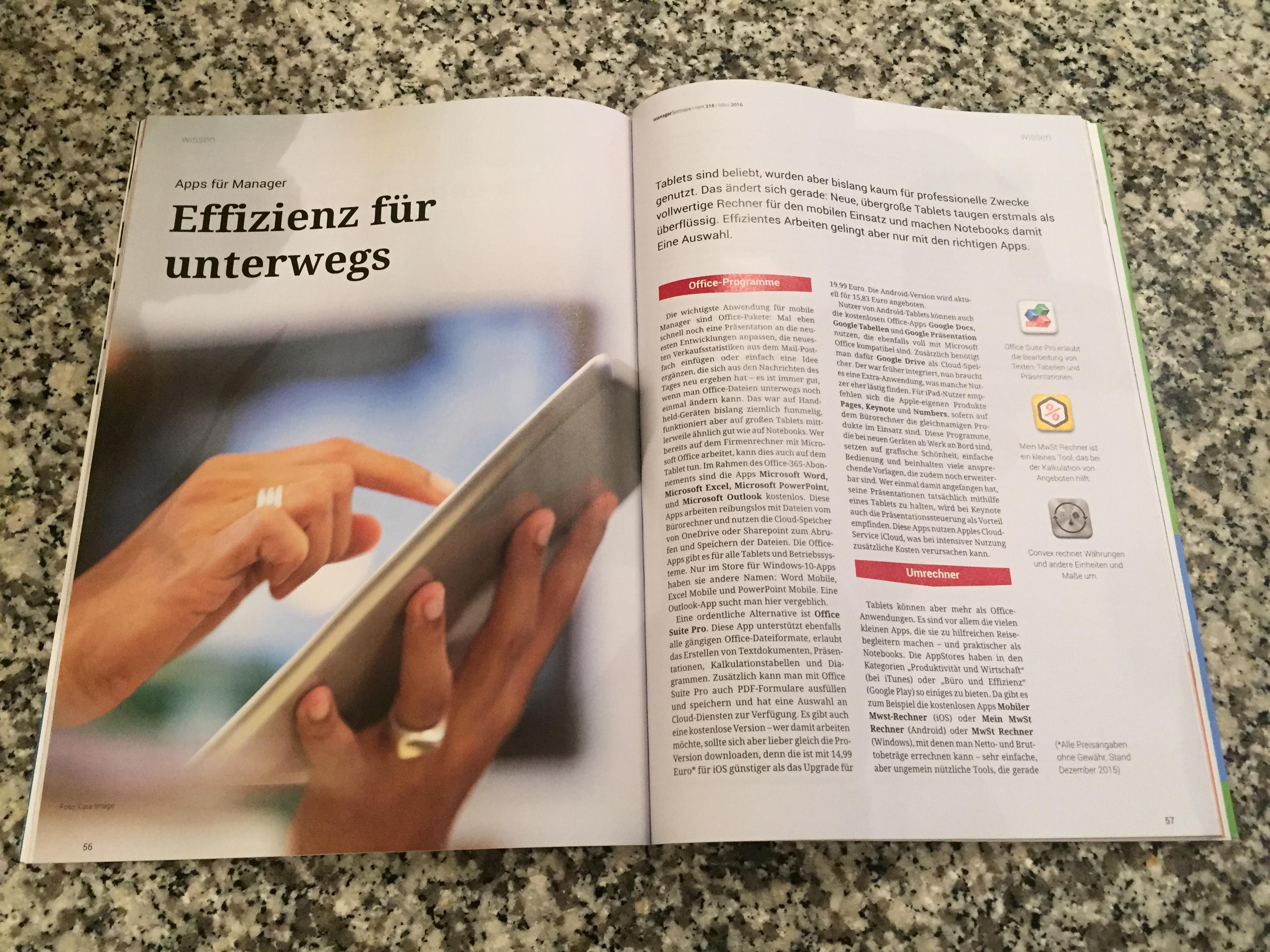 Effizienzgewinn für Manager und Selbstständige unterwegs: Wenn das Tablet oder Smartphone mit den richtigen Apps bestückt wird, kann man auch unterwegs effizient sein.