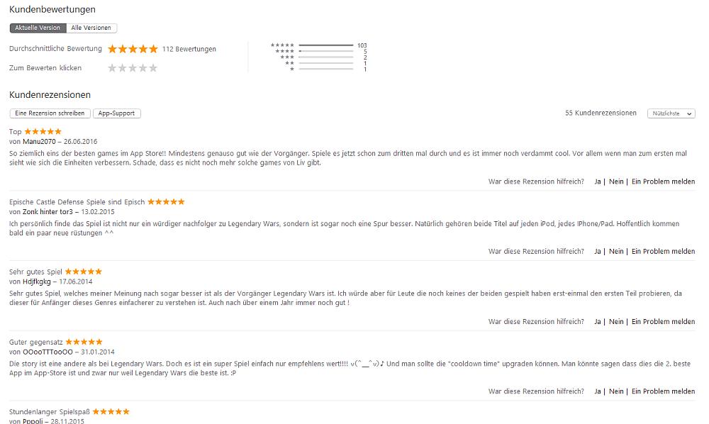 Es gibt tatsächlich Apps, die ganz ohne Tricks auf gute Bewertungen kommen, wie dieses Beispiel von Legendary Wars zeigt.