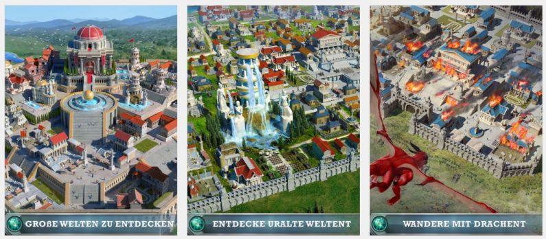 """Die im App Store gezeigten """"Screenshots"""" haben mit den im Spiel gezeigten Festungen nicht viel zu tun. (Fotos: iTunes/MZ)"""