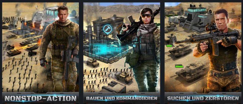 Mobile Strike bedient sich Arnold Schwarzenegger als Testimonial. Auch hier sind die Bilder nicht aus dem Spiel übernommen und gaukeln dem Kunden ein anderes Spielerlebnis vor. (Foto: iTunes/Epic War LLC)
